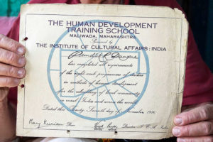 ICA Winds & Waves, April 2015. A certificate issued in 1976 to a villager who had completed the ICA's eight-week training course. He had kept it safe and showed it to us when we visited him this year.